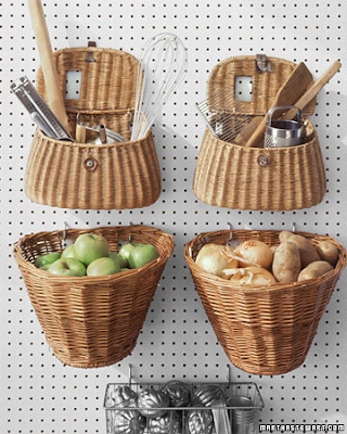 hanging baskets, wicker baskets, storage bins