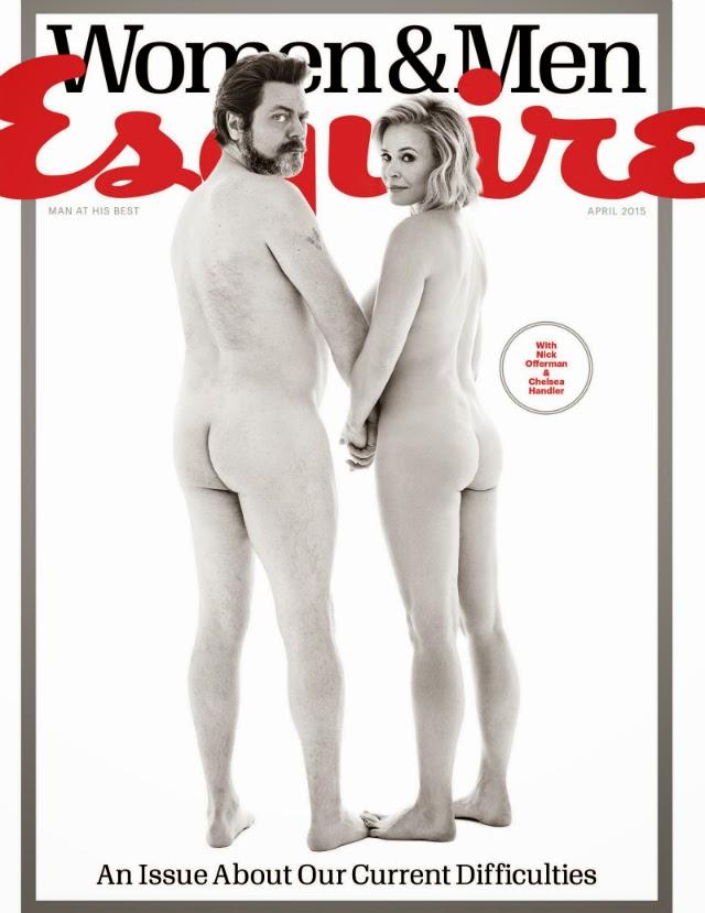 Chelsea Handler y Nick Offerman desnudos para la revista Esquire