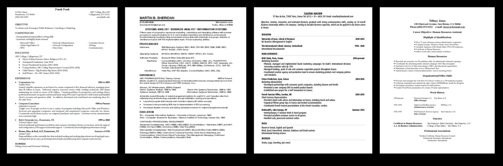 mister wilson s video production class although these resumes contain similar information styles do vary