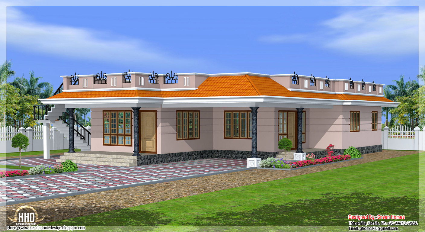 Kerala style single storey 1800 home design for Home designs kerala style