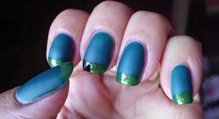 Manicura verde mate y brillante