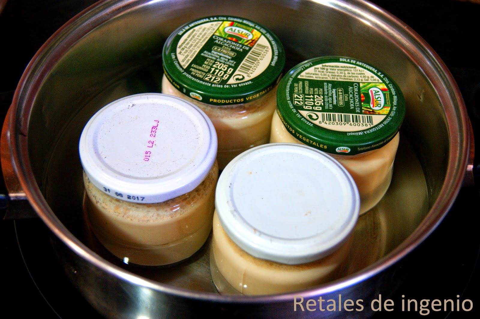 Retales de ingenio recetas y diet tica flan en botes de - Flan a bano maria ...