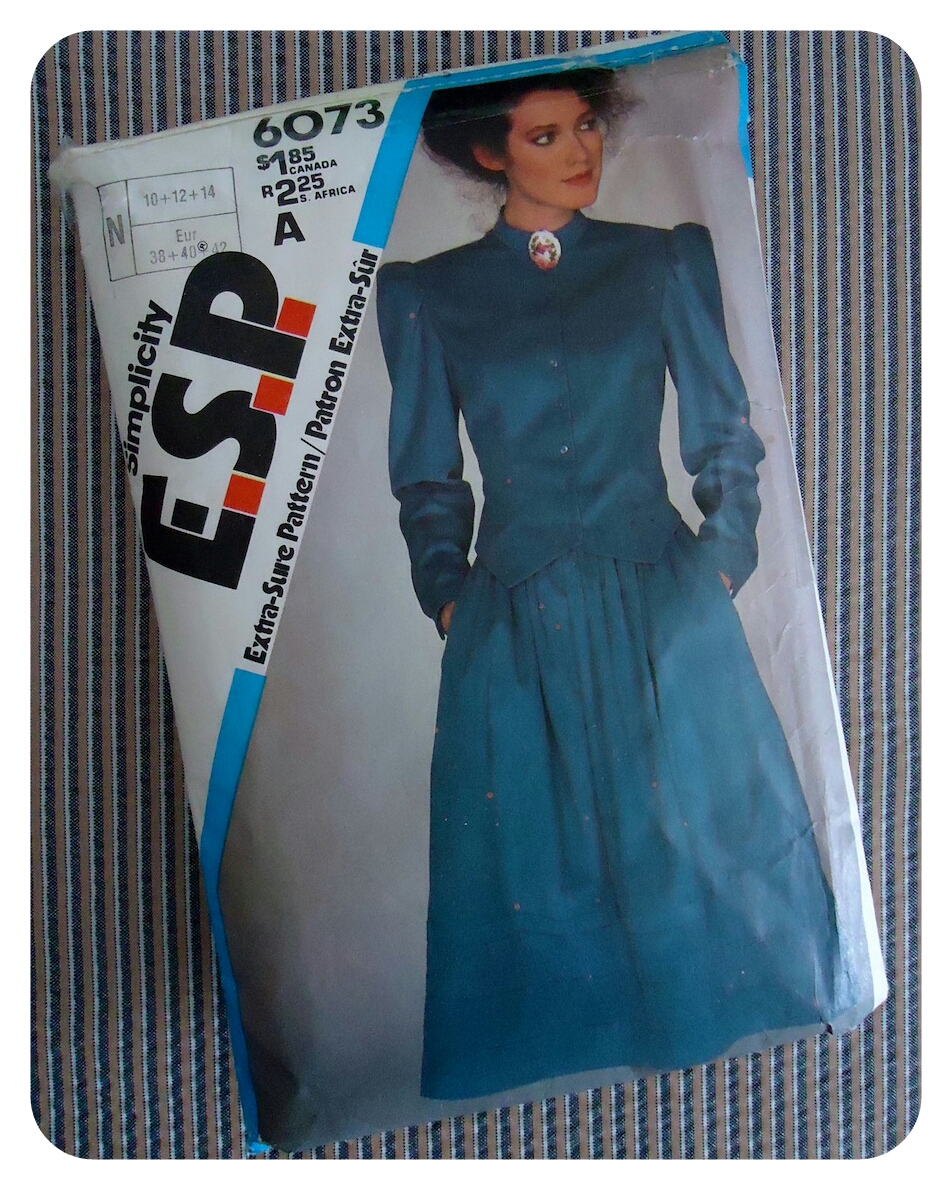 Simplicity ESP 6073: Victorian jacket and skirt, 1980s