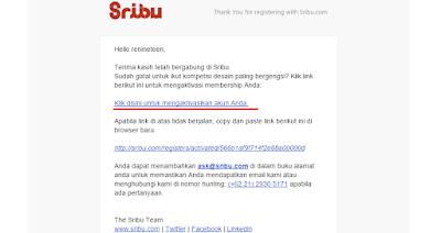 Email konfirmasi yang diberikan sribu