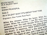 Liner notes from Miles Davis' 1969 LP 'In a Silent Way'