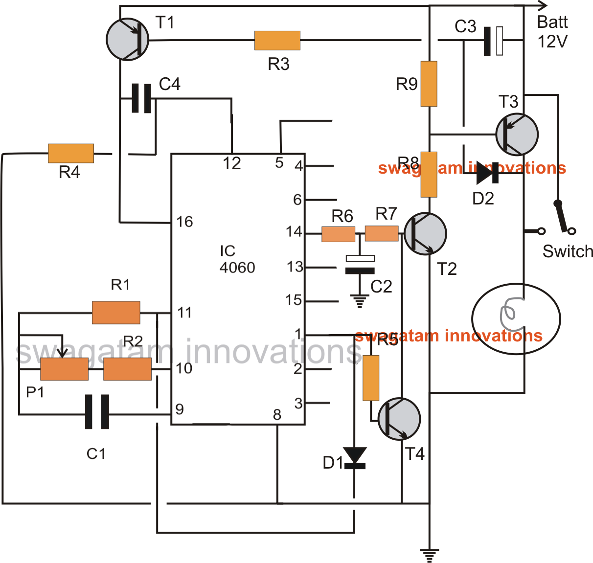 Car Head Lamp Fader Circuit - Breathing Effect Generator | Homemade ...