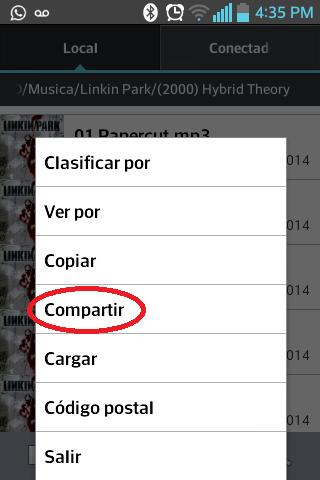 Enviar musica en Android