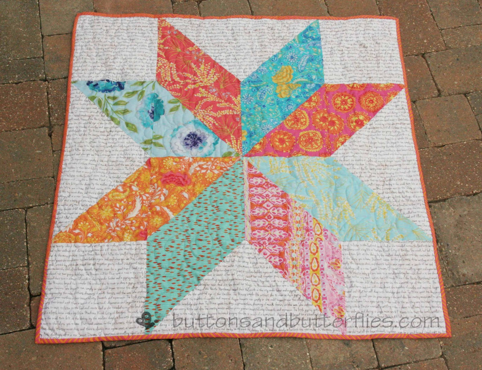 Buttons And Butterflies Giant Star Quilt