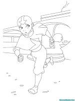 Mewarnai Gambar Avatar Aang Sedang Berlari Menghindari Tentara Negara Api