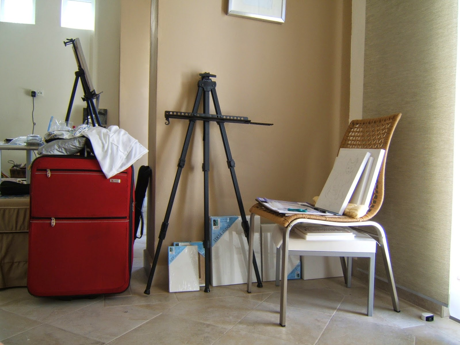Portable Art Studio, packing to go painting for a month in Rhodes, Greece, fall 2008