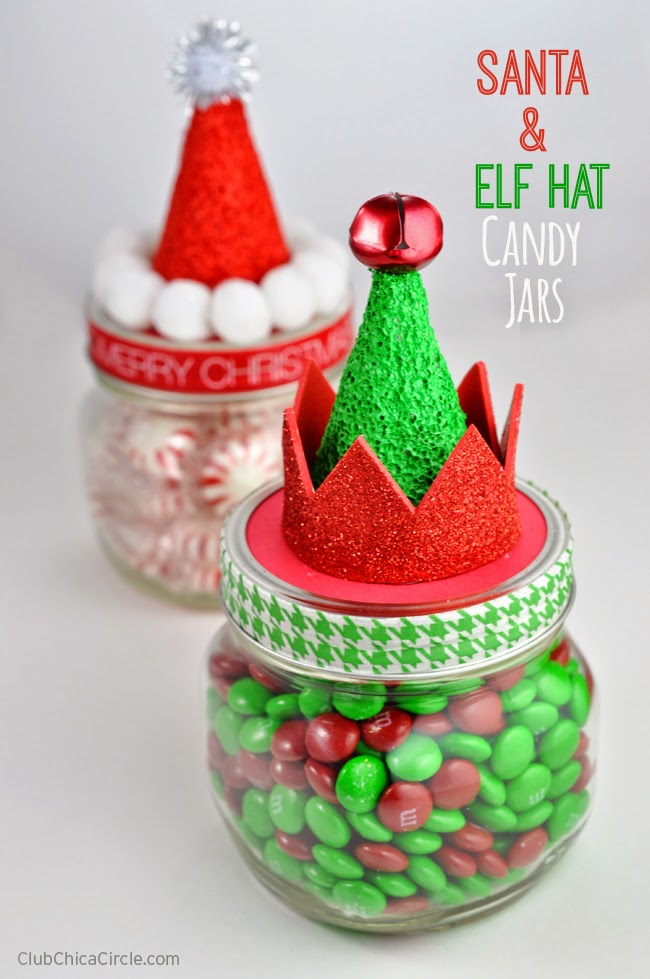 Santa & elf hat candy jars