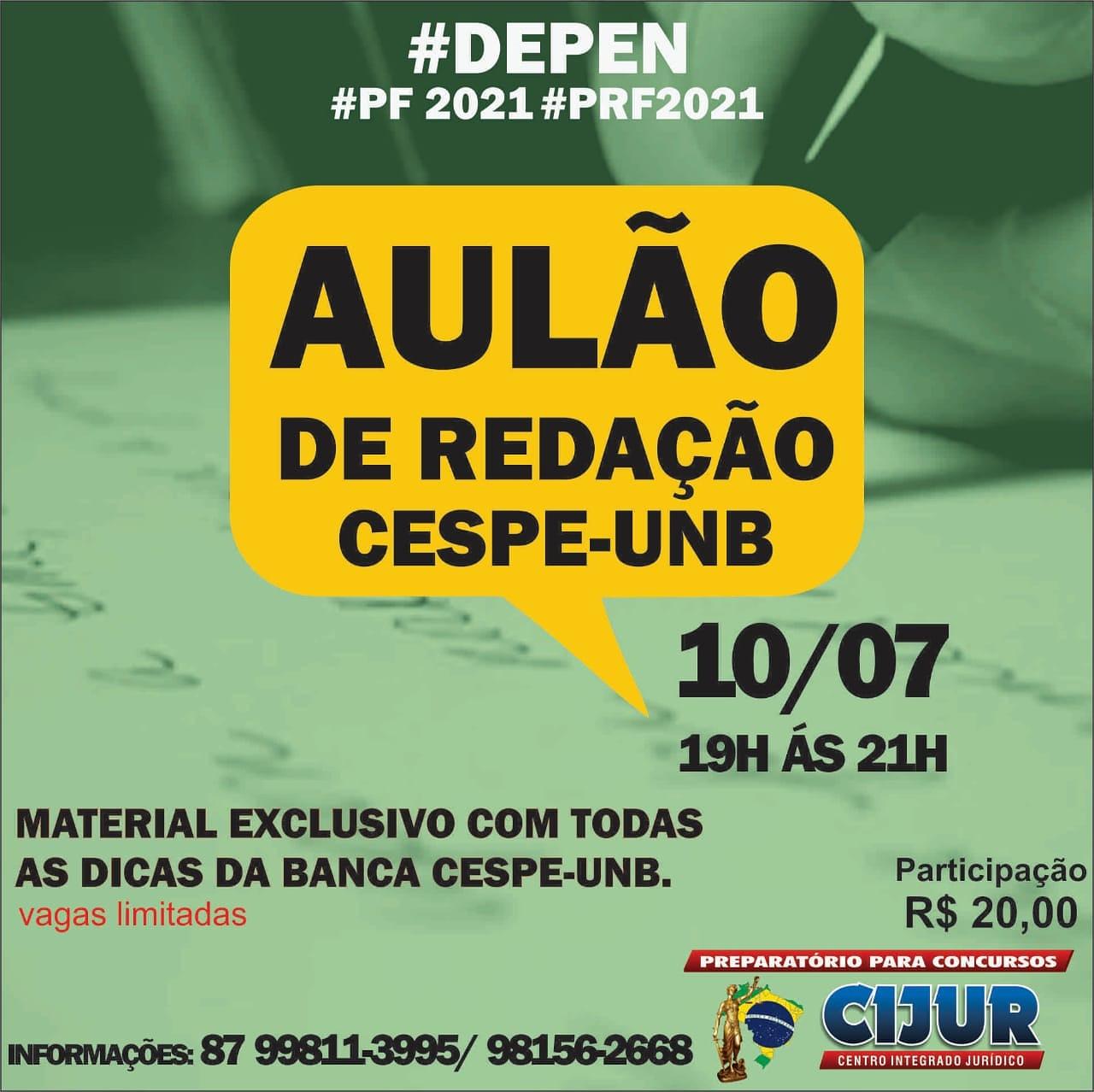Aulão  de Redação do Cijur dia 10 de julho. Material didático gratuito em PDF.