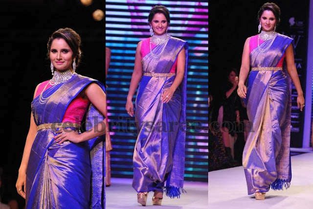 Sania Mirza Purple Silk Saree