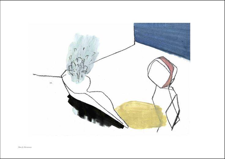 Farvelagt tegning til væggen fra Bine Jo Mortensen