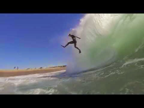 Insane Wipeout Bodyboarder falls out of the sky and almost lands on dry sand