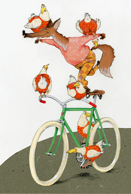 illustration by Robert Wagt of a fox and six  chicken on a bicycle in the circus