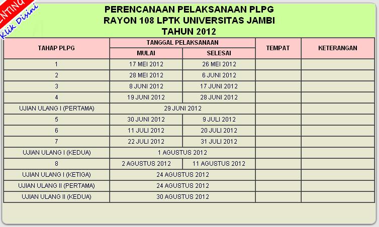 Pada gambar di atas adalah Informasi Jadwal PLPG Kuota 2012 Rayon 108