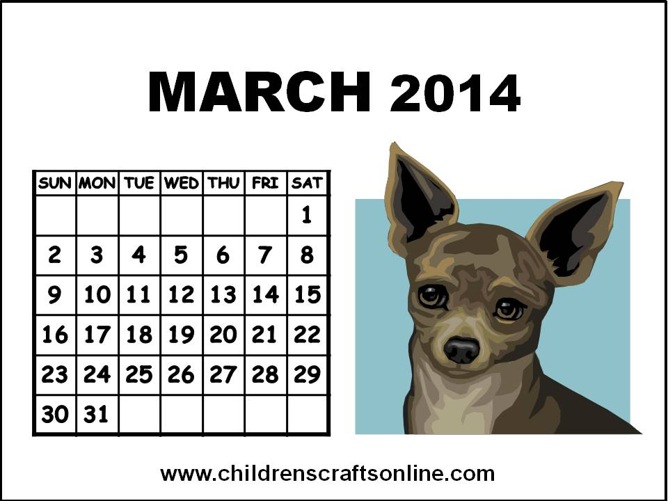 Cute March 2014 Calendar Printable Cute March 2014 Calendar