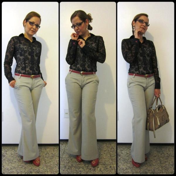 moda estilo look do dia trabalho formal camisa renda dudalina calça pantalona
