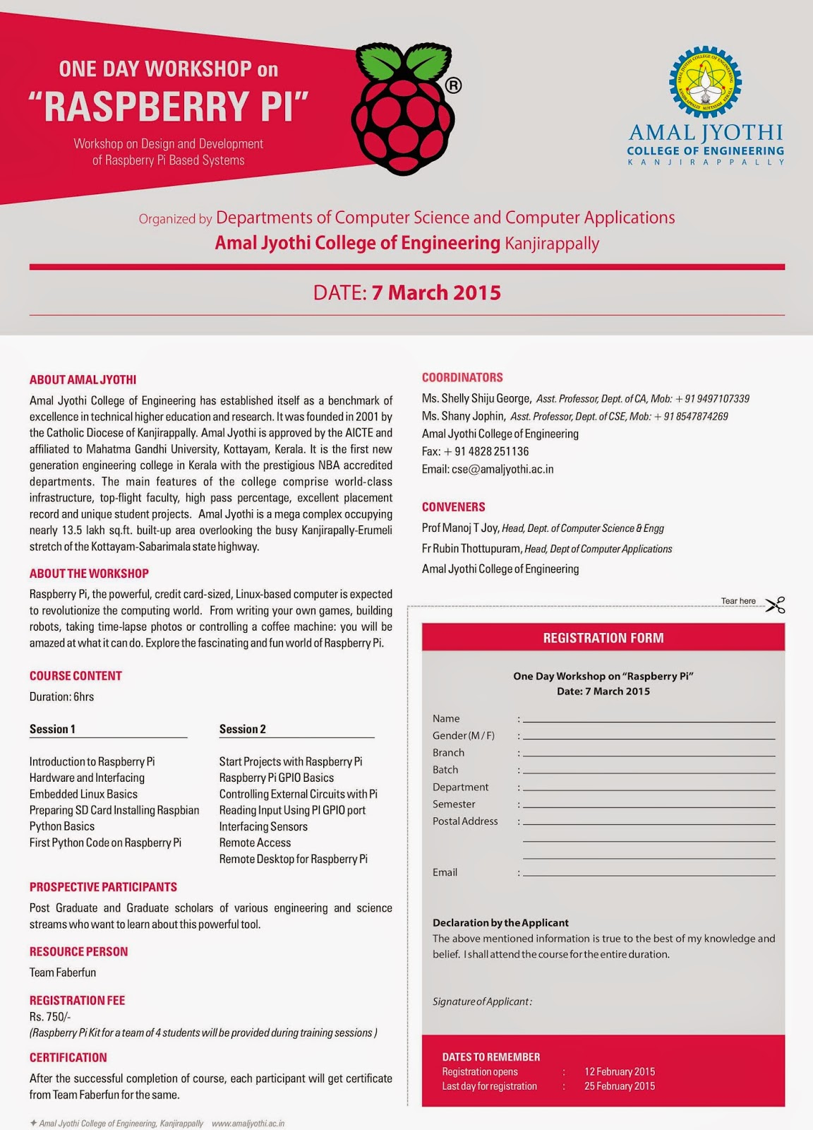One Day Workshop On Raspberry Pi On March 7 2015 Computer Science