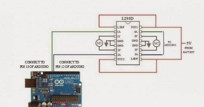 control dc motor direction using l293d motor driver and