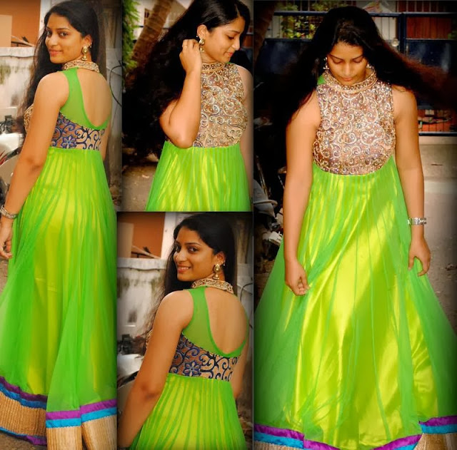 Parrot Green Long Frock Rashi Khanna Traditional Dress Images