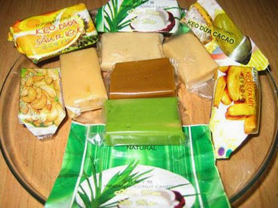 Coconut candy: it most commonly refers to the candy produced in the Mekong delta province of Bến Tre. It is made with coconut milk and coconut cream.