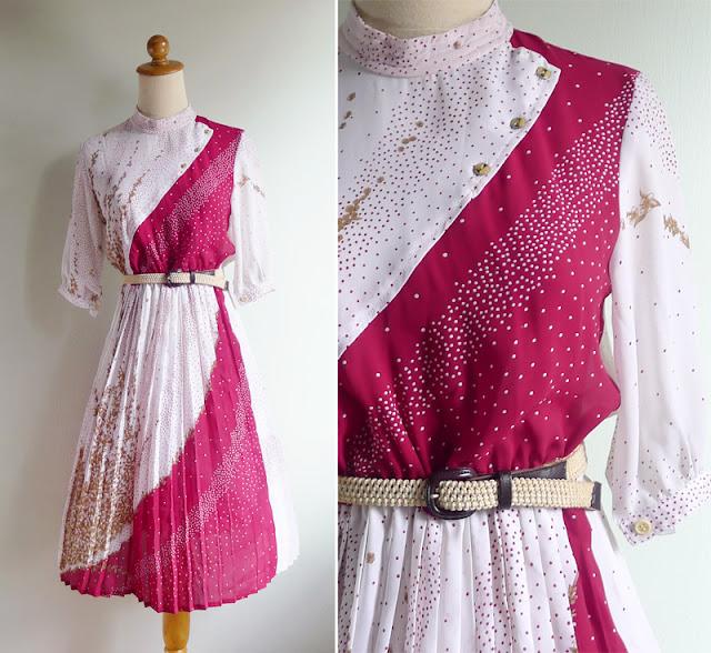 vintage 70's pleated op art floral dress