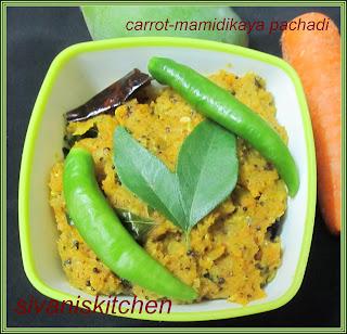 carrot-mamidikaya pachadi