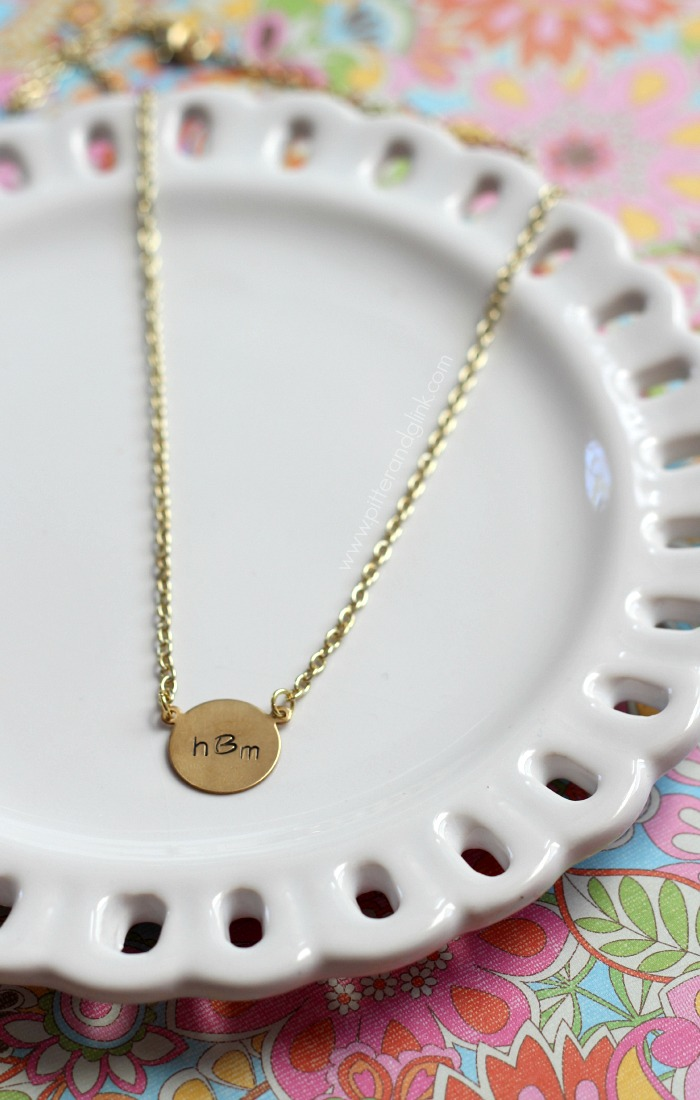 Make a metal stamped monogram necklace--a project perfect for the novice metal stamper! pitterandglink.com