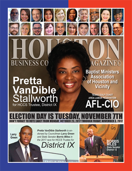 VOTE TUESDAY, NOVEMBER 7, 2017 EDITION OF HBC MAGAZINE© FEATURING PRETTA VANDIBLE STALLWORTH