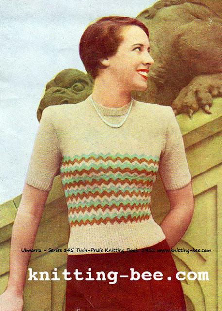 Free 1950's Knitting  Pattern - Ulmarra Short Sleeved Sweater