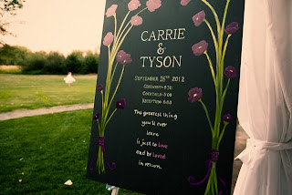 Sign for Tyson and Carrie's wedding at Sanders Estate
