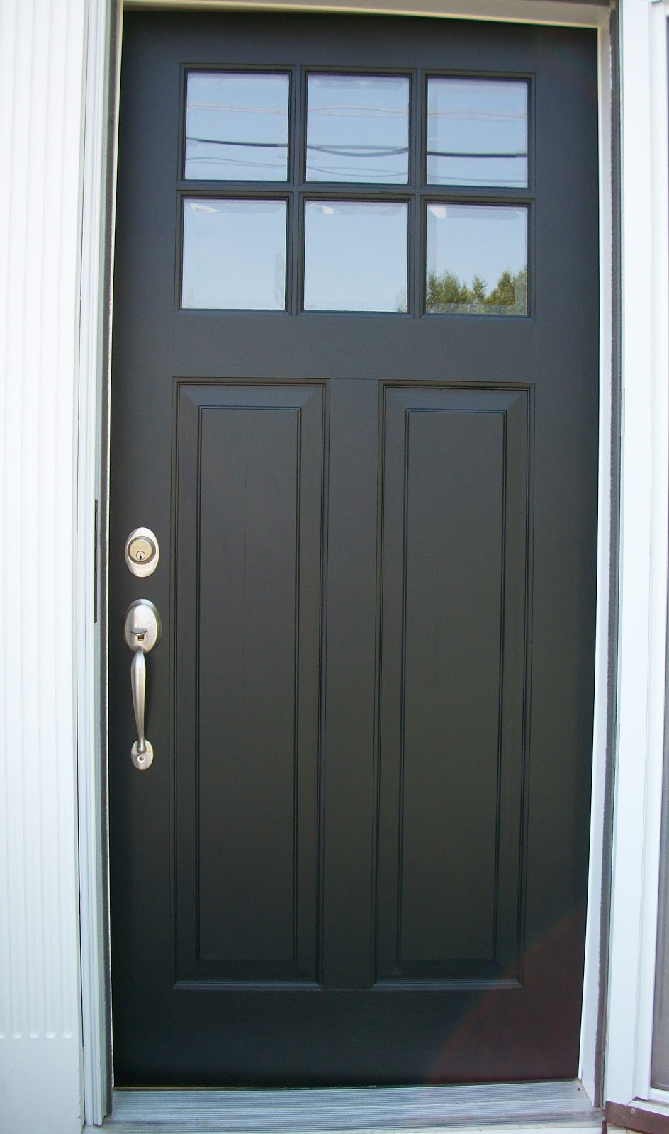 Black Front Door with Storm Door 944 x 1600