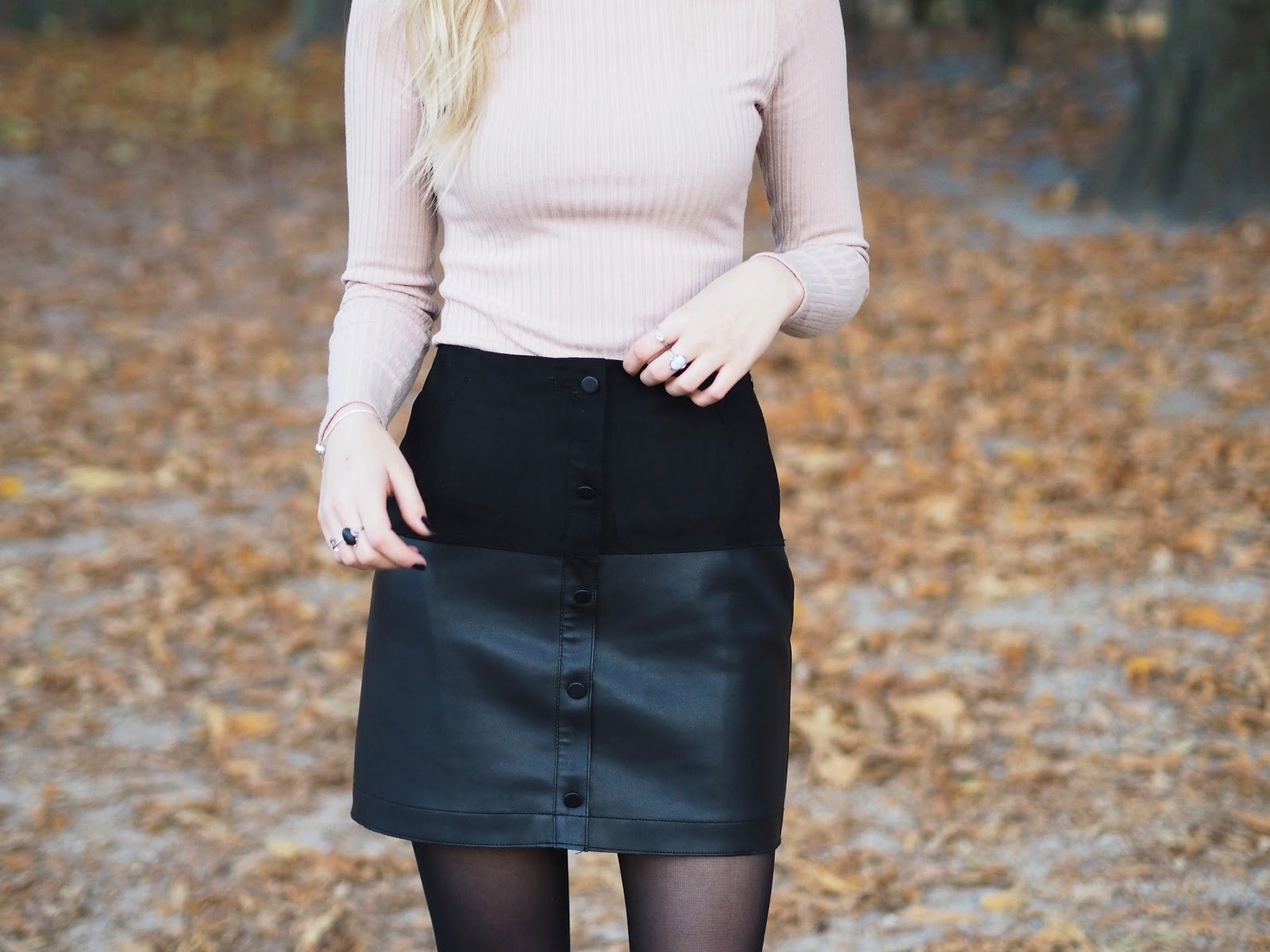 faux leather suede a-line skirt