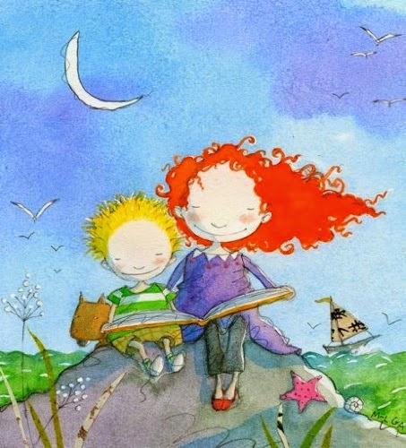 Ilustración niños leyendo