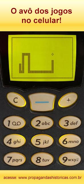 Jogo Snake que fez sucesso em muitos aparelhos de celular no final dos anos 90.