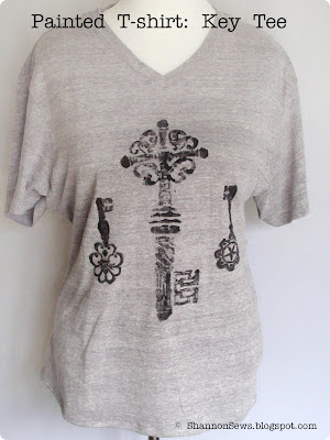 Painted t-shirt design with imprinted keys