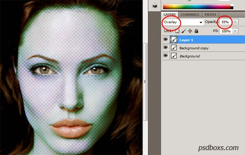 Photoshop Tutorial : Blue Halftone Skin Effect Photo Manipulation