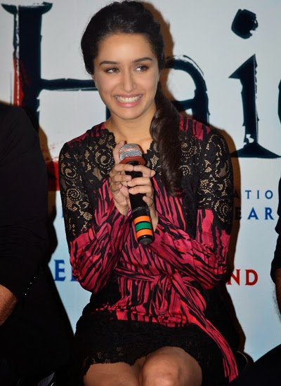 "Shraddha Kapoor and Shahid Kapoor at Trailer Launch of Movie ""Haider"""
