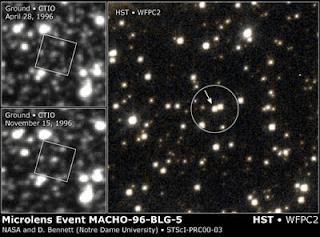 efek lensa gravitasi pada Macho-96-BL5