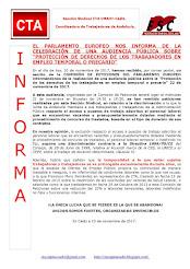 """EL PARLAMENTO EUROPEO NOS INFORMA DE LA CELEBRACIÓN DE UNA AUDIENCIA PÚBLICA SOBRE """"PROTECCIÓN DE D"""