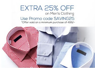 Now Enjoy Flat 25% Additional Off on Men's Clothing worth Rs.499 or above at Snapdeal