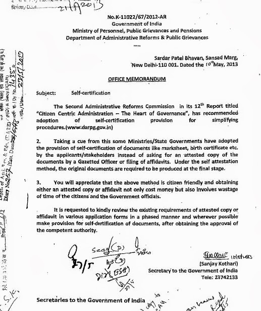 Self certification of documents instead of attestation by gazetted secretary to the government of india yelopaper Images