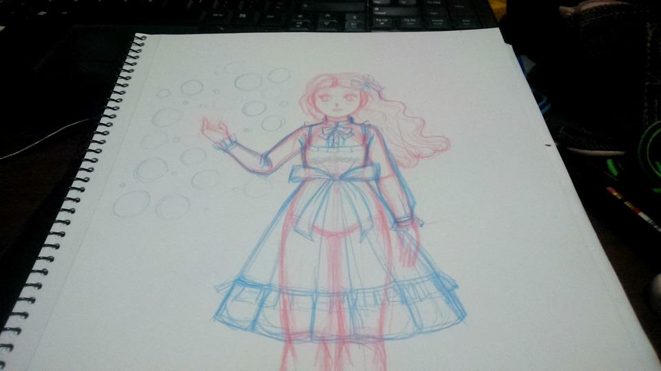 boceto con lápiz azul y rojo