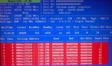 O Memtest86+ encontrou problemas em um dos pentes de RAM deste PC