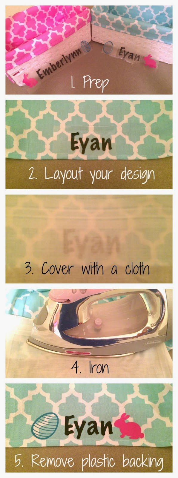 Personalized Easter Basket DIY, How to use heat transfer vinyl, how to set up silhouette and heat transfer vinyl, easter, crafts, tutorial with pictures