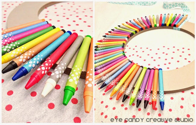 teacher gift idea, wreath for teacher, crayon wreath making, glue on crayons