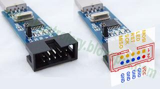 Programator USBasp - oznaczenia pinów złącza ISP.