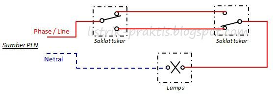 Cara mudah kontrol 1 lampu penerangan tangga dari 2 tempat wiring diagram 2 saklar tukar 1 lampu cheapraybanclubmaster Choice Image
